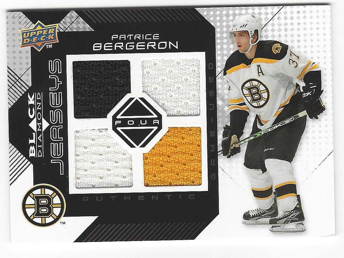 huge discount 6be9d bde40 Patrice Bergeron Boston Bruins 2008-09 Black Diamond Upper Deck Jersey Card