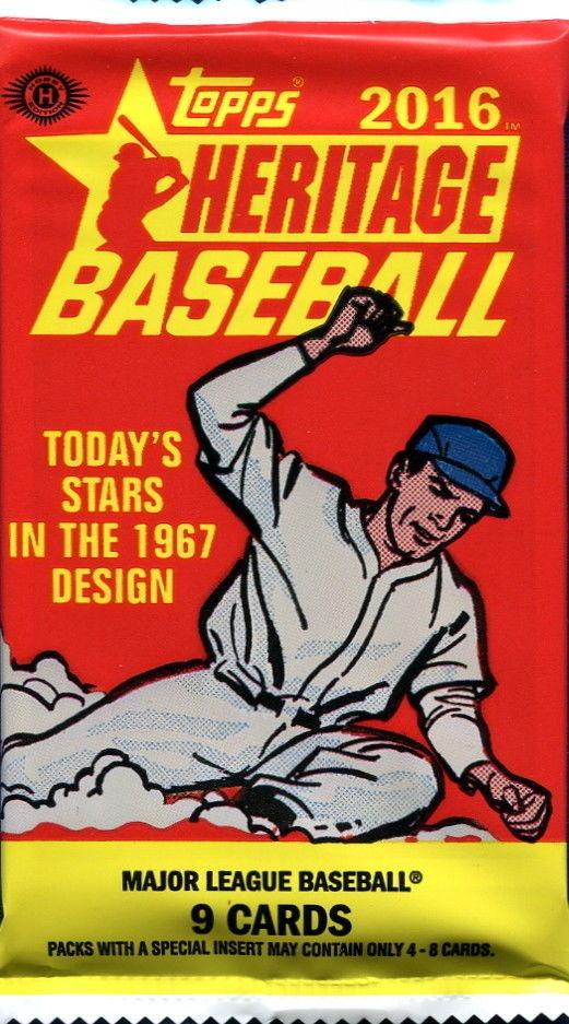 2016 Topps Heritage Baseball Hobby 9 Card Pack Sealed Random
