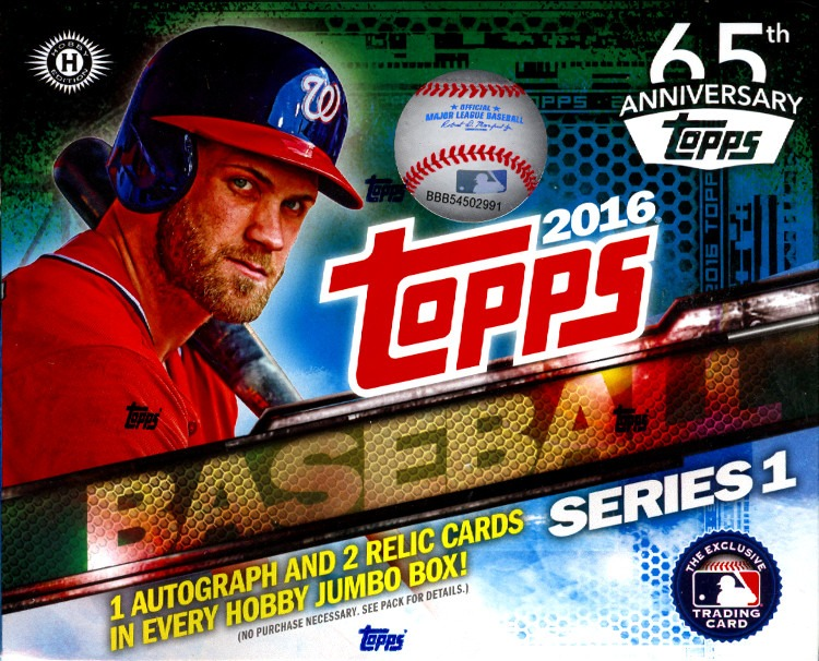 2016 Topps Series 1 Baseball Jumbo Hta Hobby 10 Pack Box Sealed