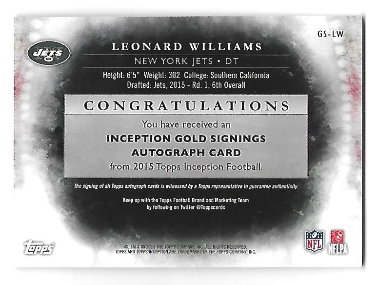25921315 LEONARD WILLIAMS 2015 Topps Inception Gold Signings auto /25 Rookie RC NY  Jets