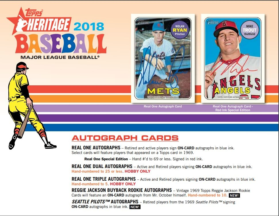 Three3 2018 Topps Heritage Baseball Hobby 9 Card Pack Factory Sealedrandom