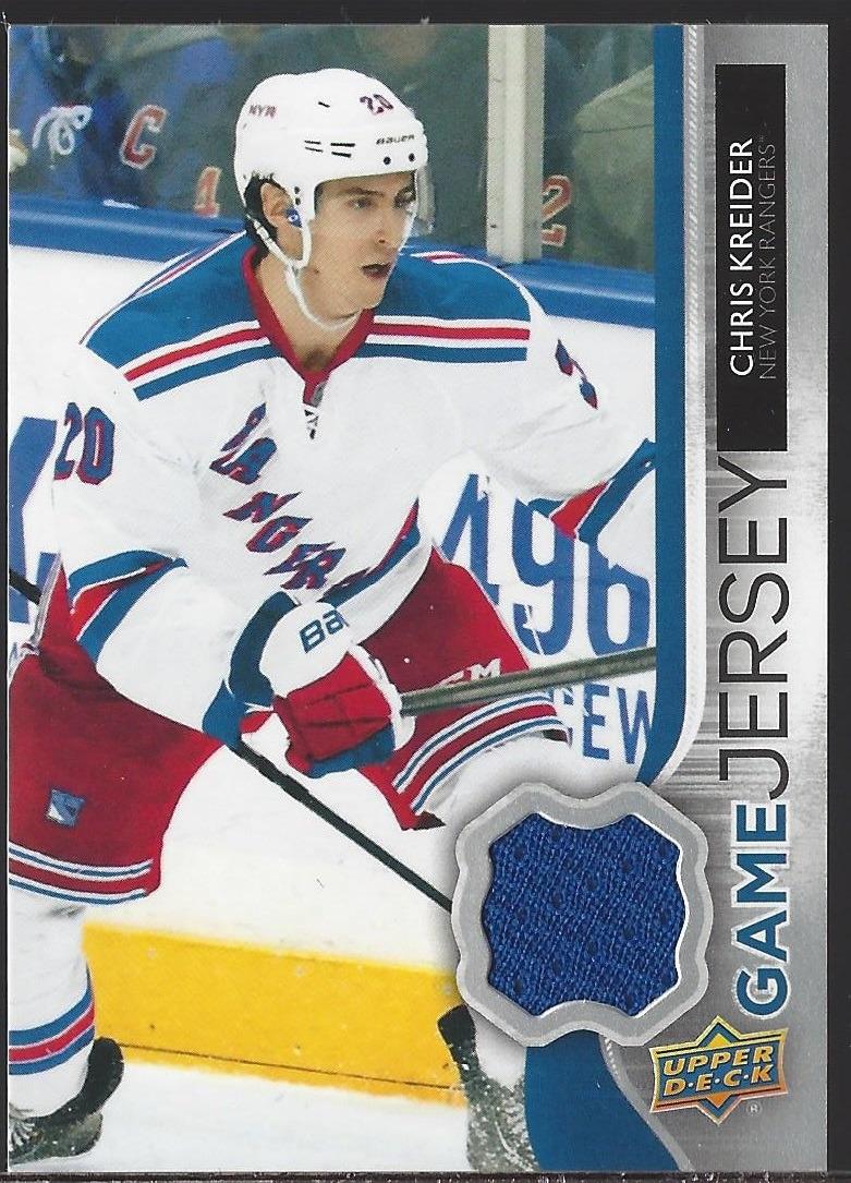 huge discount fde9f a8832 Chris Kreider NY Rangers 2014 UpperDeck Series One Hockey Game Worn Jersey  Card #GJ-CK