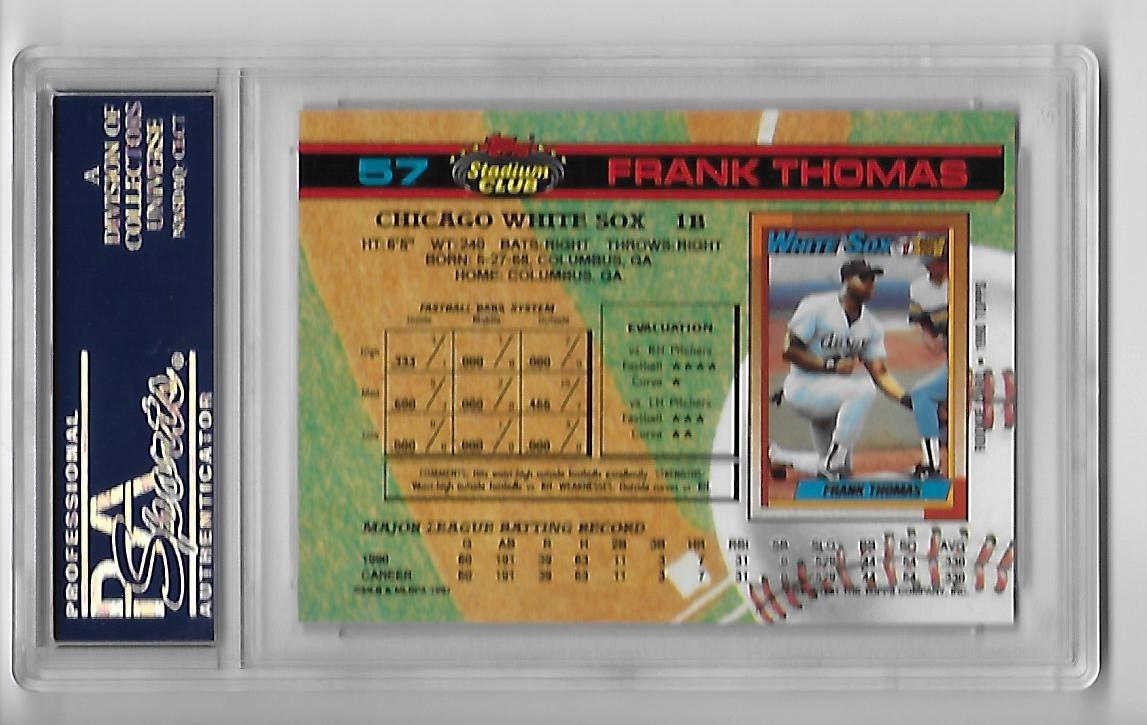 Frank Thomas 1991 Topps Stadium Club 57 Psa Mint 9 White Sox Hof 2014