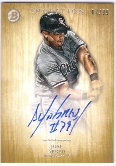 Jose Abreu 2014 Bowman Inception Prospect Rookie Auto Gold Parallel Card 6799