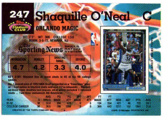 Shaquille Oneal 1992 93 Stadium Club Rookie Card 247 Rc