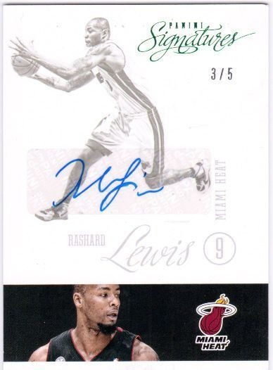 RASHARD LEWIS 2012-13 Panini Signatures 3/5 Green Parallel Card #124a Auto HEAT