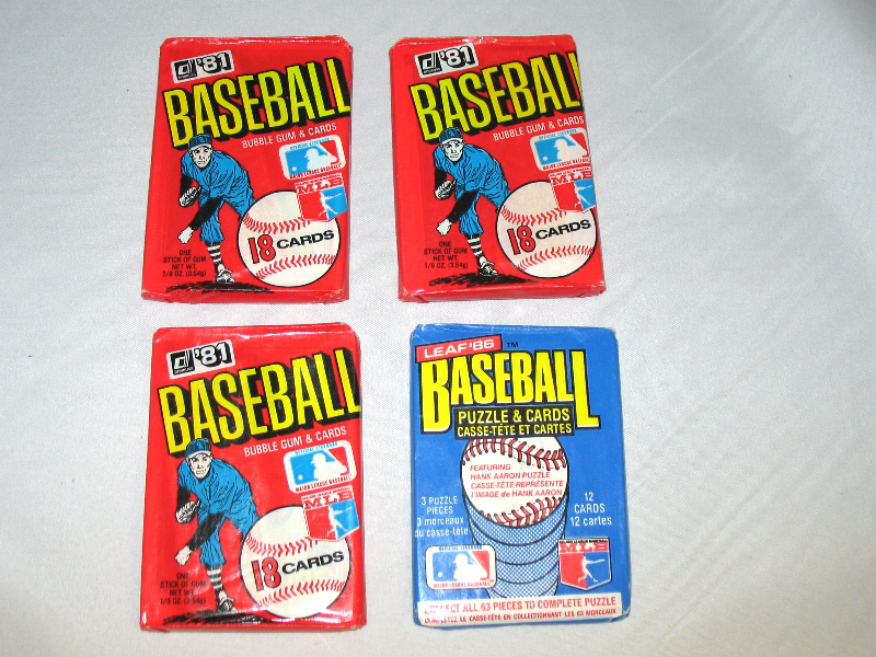 3 Packs 1981 Donruss Baseball Wax Packs 1 Pack 1986 Leaf Baseball Wax Pack Lot