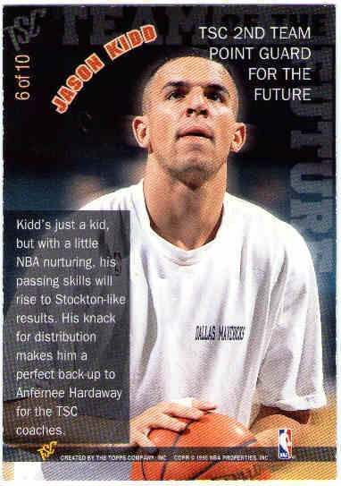Jason Kidd 1994 95 9495 Stadium Club Team Of The Future Card 6 Rookie Year
