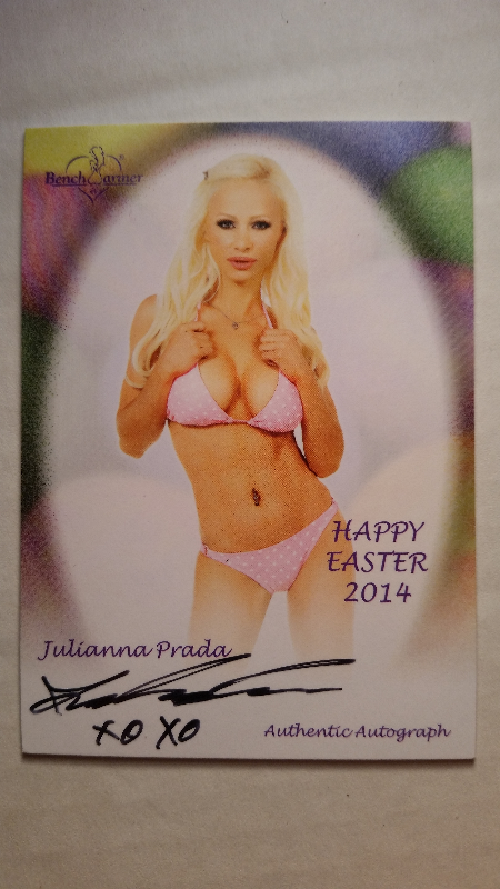 Julianna Prada 2014 Bench Warmer Happy Easter Autograph Auto On Card Playboy