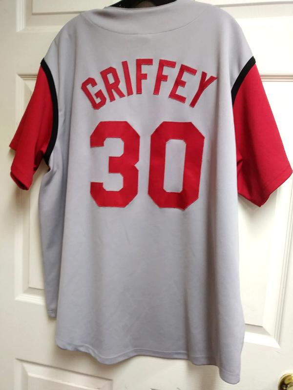 best loved 011b0 942e6 KEN GRIFFEY JR MAJESTIC MEN'S SZ XL RED GRAY JERSEY CINCINNATI REDS MLB  BASEBALL