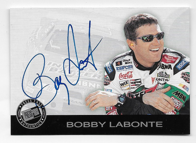 Bobby Labonte NASCAR 2001 Press Pass Authentics auto blue Autograph