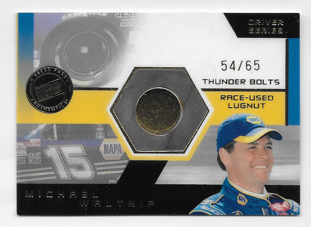 Michael Waltrip NASCAR 2003 Press Pass Thunder Bolts /65 Race used lugnut