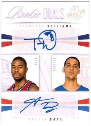 AUSTIN DAYE TERRENCE WILLIAMS 2009-10 Season Update Rookie Dual Auto Card 95/99