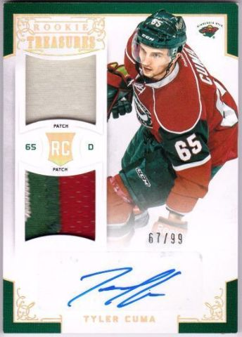 TYLER CUMA 2012-13 Rookie Anthology Rookie Treasures Prime Jersey Patch Auto /99