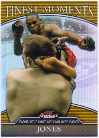 JON JONES 2011 UFC 126 Finest Moments Gold /88 Refractor Card Kicking Ryan Bader
