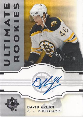 2007-08 Ultimate Collection Hockey David Krejci #142 Ultimate Rookies Autograph /399