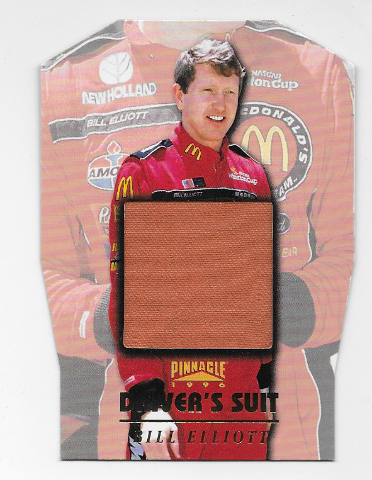 Bill Elliot NASCAR 1996 Pinnacle Drivers Suit Die-cut /1  red firesuit  (x)