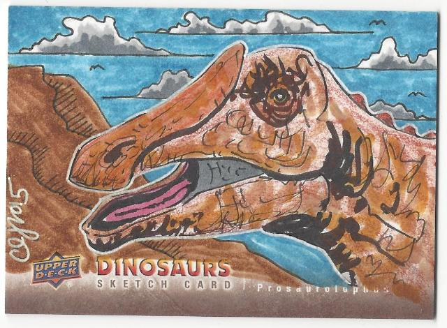 Clinton Yeager Prosaurolophus Hand Drawn 1/1 Dinosaurs Artist Sketch Card