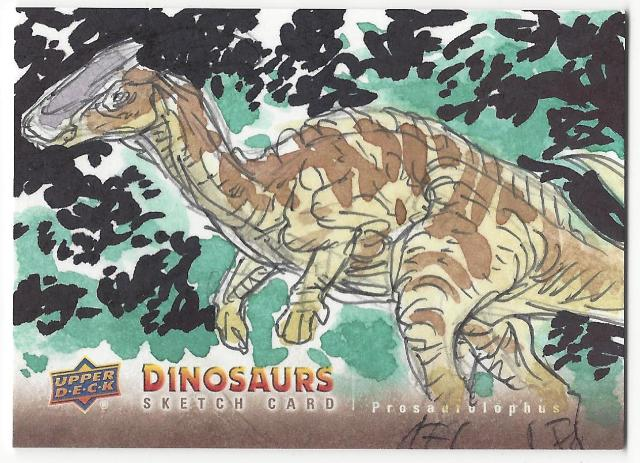 Monsanto Prosaurolophus Hand Drawn 1/1 Dinosaurs Artist Sketch Card