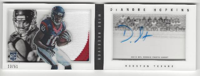 DeAndre Hopklins 2013 Panini Playbook Rookie Autograph Patch RC /51