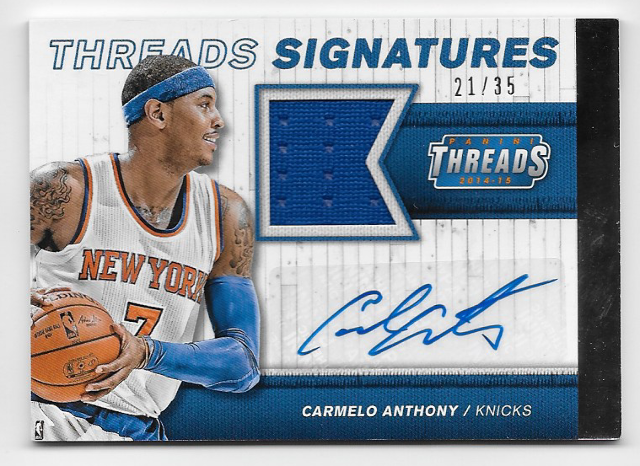 CARMELLO ANTHONY  14-16 Panini Threads Signatures auto /35 New York Knicks