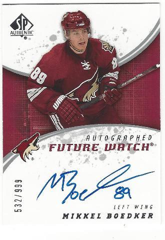 Mikkel Boadker 2008-09 Phoenix Coyotes Future Watch Rookie Autograph /999