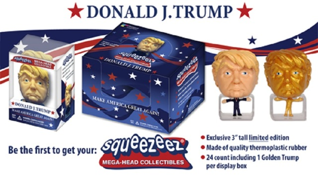 Donald Trump SqueezeEz Mega Head Collectible Ball Box of 24 w/ 1 Rare Gold Trump