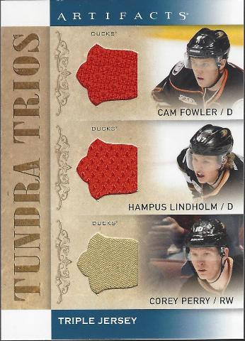 Fowler Lindholm Perry 2014-15 UD Artifacts Anaheim Ducks Tundra Trios #T3-ANA