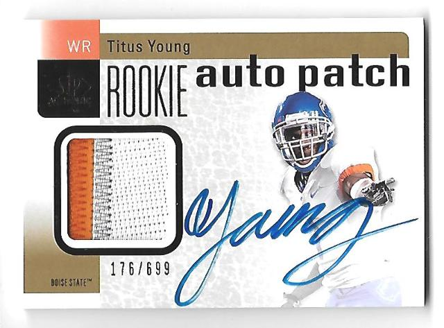 TITUS YOUNG 2011 Upper Deck SP Authntic RC jersey auto /699 Boise State Broncos