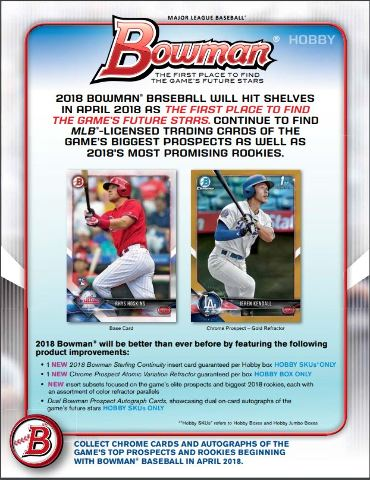 2018 Bowman Baseball Hobby 24 Pack Box (Factory Sealed)