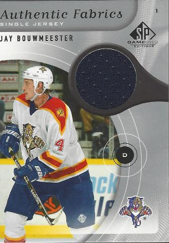 Jay Bouwmeester 2005-06 Upper Deck SP Game Used Authentic FAbrics Jersey Blues