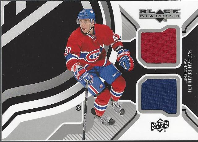 Nathan Beaulieu Upper Deck Black Diamond 2 color Jersey Relic 2013-14 Canadians