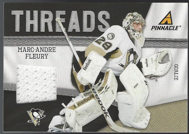 Marc-Andre Fleury 2011-12 Panini Pinnacle Threads Memorabilia Pittsburgh Peguins