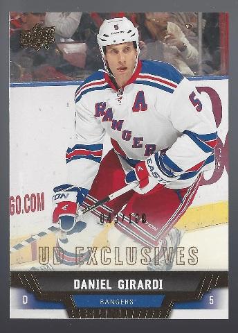 Daniel Girardi 2013-14 Upper Deck UD Series 1 Exclusives New York Rangers /100