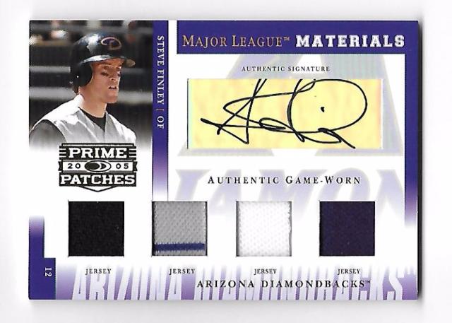 STEVE FINELY 2005 Donruss Prime Patches Major League Materials 4 patch auto/100
