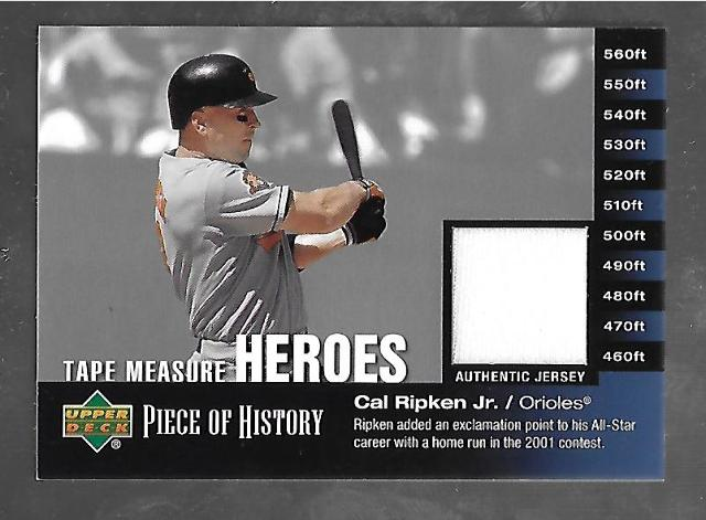 CAL RIPKEN JR 2002 Upper Deck Piece of History Tape Measure Heroes patch #TM-CR
