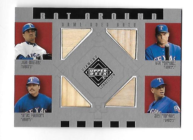 GONZALEZ/PALMEIRO/A.RODRIGUEZ/I.RODRIGUEZ 2002 UD Diamond Collection 4 bat #BA-GRPR