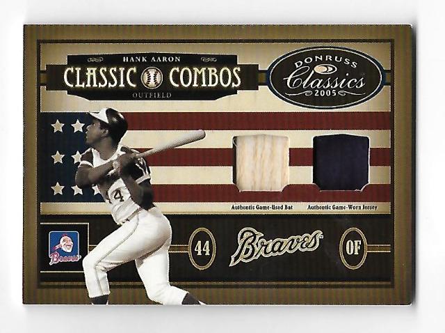 HANK AARON/STAN MUSIAL 2005 Donruss Classics Classic Combos bat piece patch /5