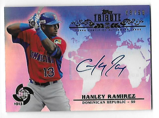 HANLEY RAMIREZ 2013 Topps Tribute WBC Autographs Blue auto /50 Red Sox