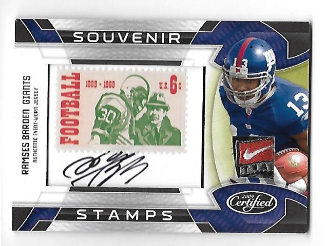RAMSES BARDEN 2009 Certified Souvenir 1969 Stamp Material Nike Swoosh auto /20