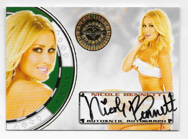Nicole Bennett 2013 Benchwarmer autograph #45 poker chip Autograph