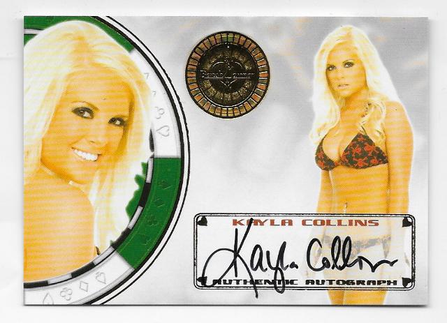 Kayla Collins 2013 BenchWarmer Vegas Baby Gold Auto #44 poker chip Autograph