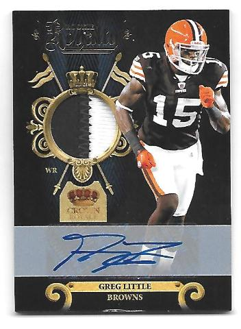 GREG LITTLE 2011 Crown Royale Rookie RC Royalty Prime patch auto/25 Browns Bills