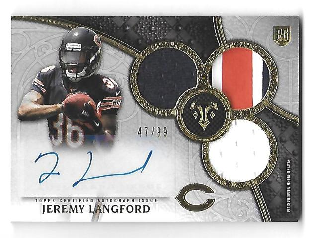 JEREMY LANGFORD 2015 Topps Triple Threads 3 patch Rokie RC auto /99 Bears Ravens