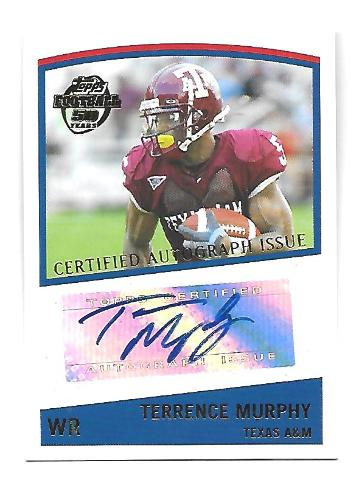 TERRENCE MURPHY 2005 Topps Autograph auto #TTM Texas A&M Aggies Packers