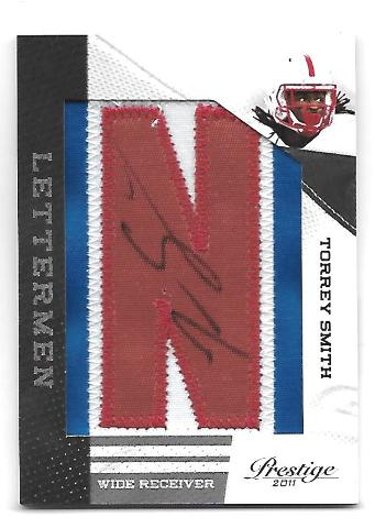 "TORREY SMITH 2011 Panini Prestige Letterman ""N"" patch auto 20 Maryland Terrapins"