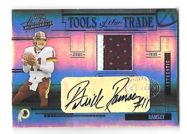 PATRICK RAMSEY 2005 Playoff Absolute Tools Trade Material Black jersey auto /25