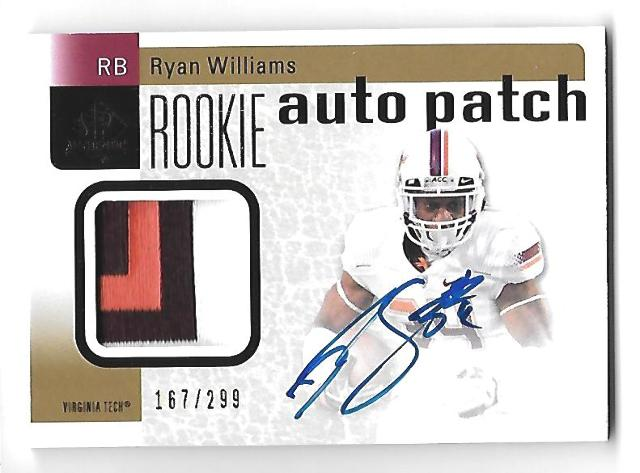 RYAN WILLIAMS 2011 Upper Deck SP Authentic RC patch auto /299 3 color Virginia Tech