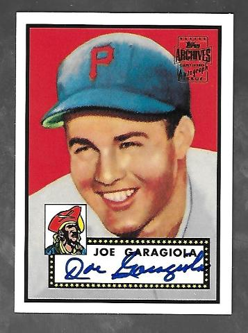 JOE GARAGIOLA 2001 Topps Archives Certified Autograph Issue #227 autograph