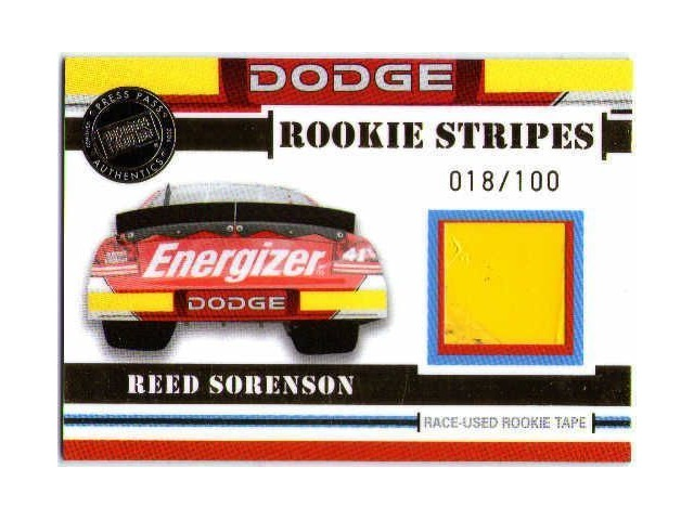 REED SORENSON Press Pass Rookie Stripes Gold Race-Used Rookie Tape Card 18/100